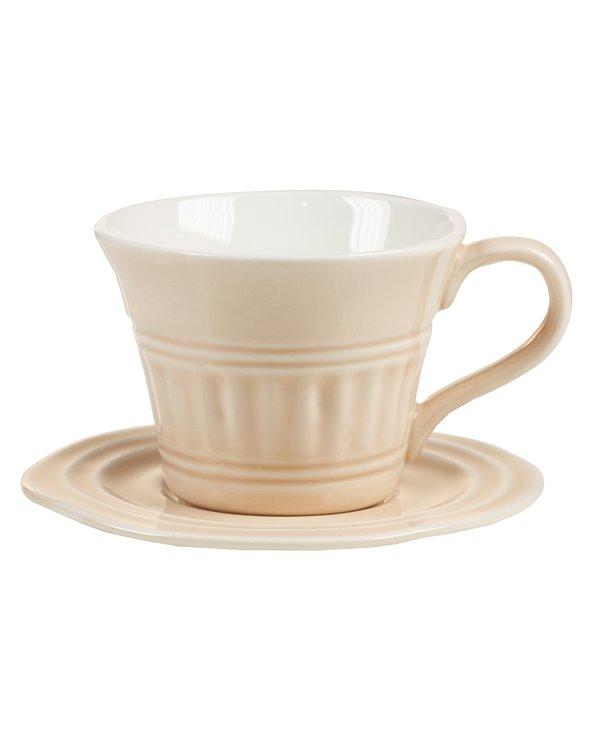 Tasse à thé rose avec soucoupe Abitare