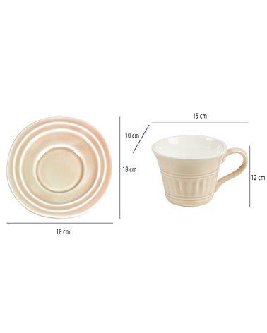 Taza de té con plato Abitare rosa