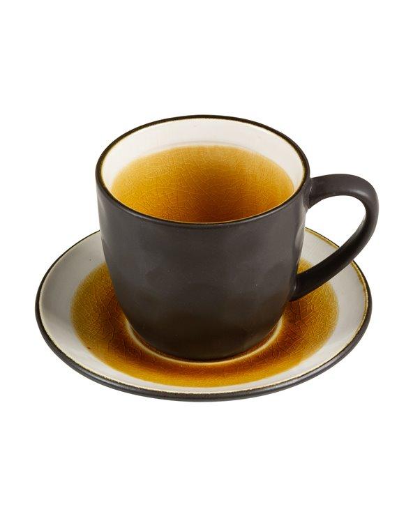 Cunca de té con prato Abitare mostaza