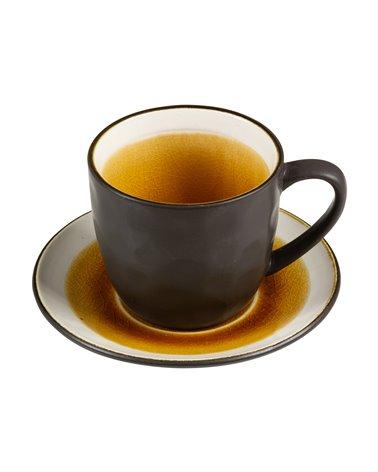 Taza de té con plato Abitare mostaza