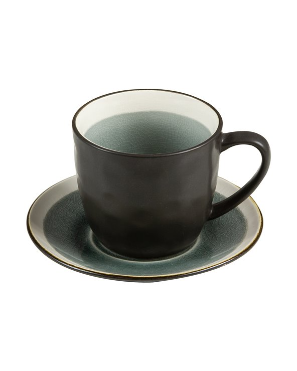 Abitare gray tea cup with saucer