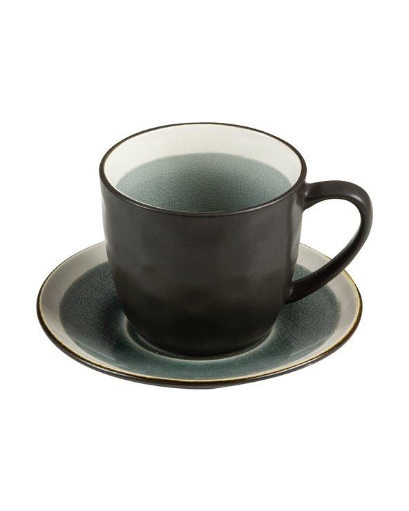Tasse à thé grise avec soucoupe Abitare