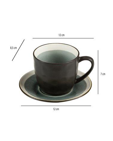 Taza de té con plato Abitare gris
