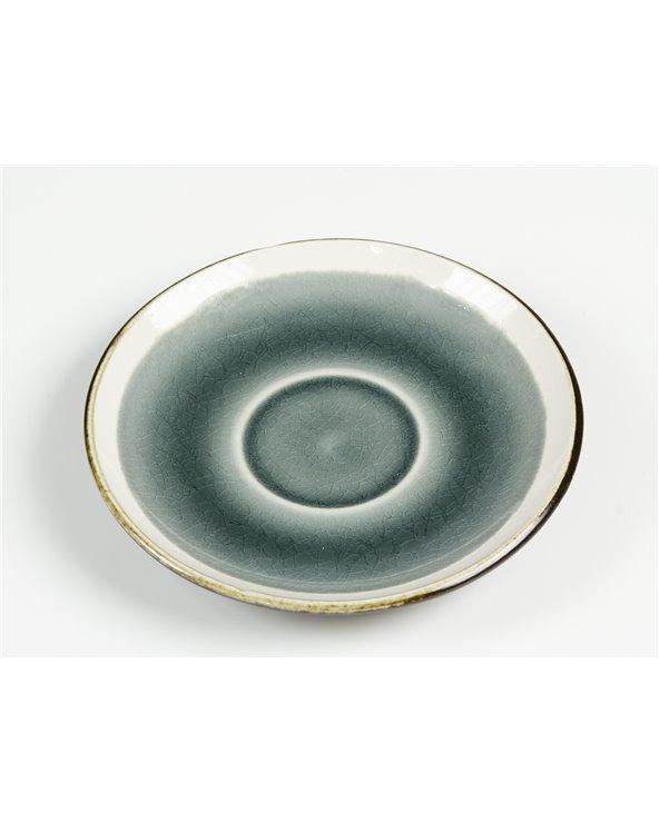 Taza con plato Abitare gris