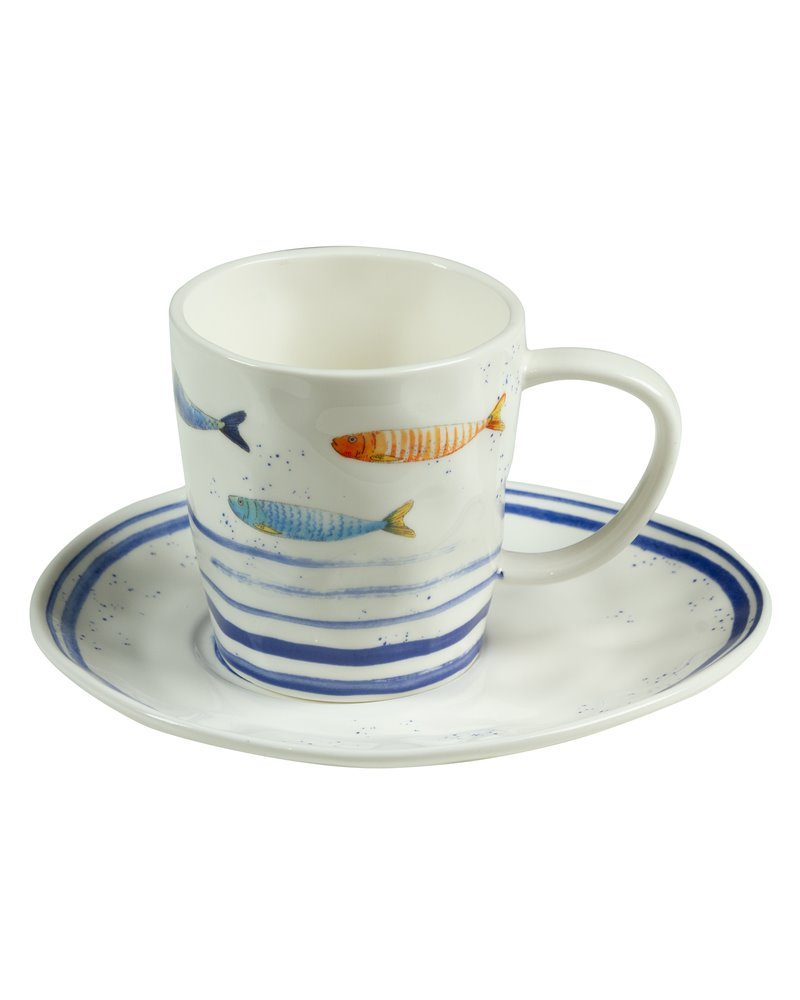 Taza y plato Bord de Mer