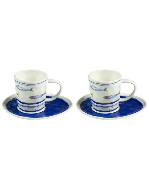 Lot de 2 tasses avec assiette Bord de Mer