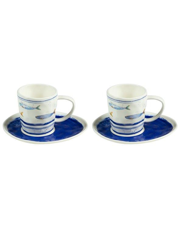Set di 2 tazze con piatto Bord de Mer