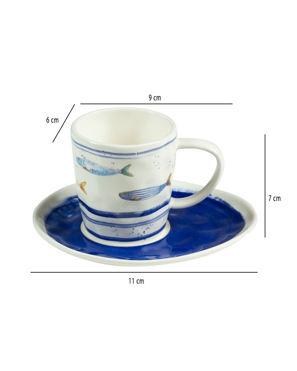 Set de 2 tasses amb plat Bord de Mer