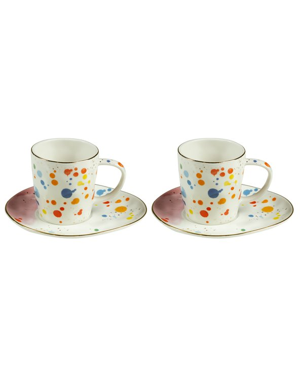 Set of 2 cups with plate Color