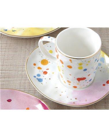 Set de 2 tazas con plato Colour