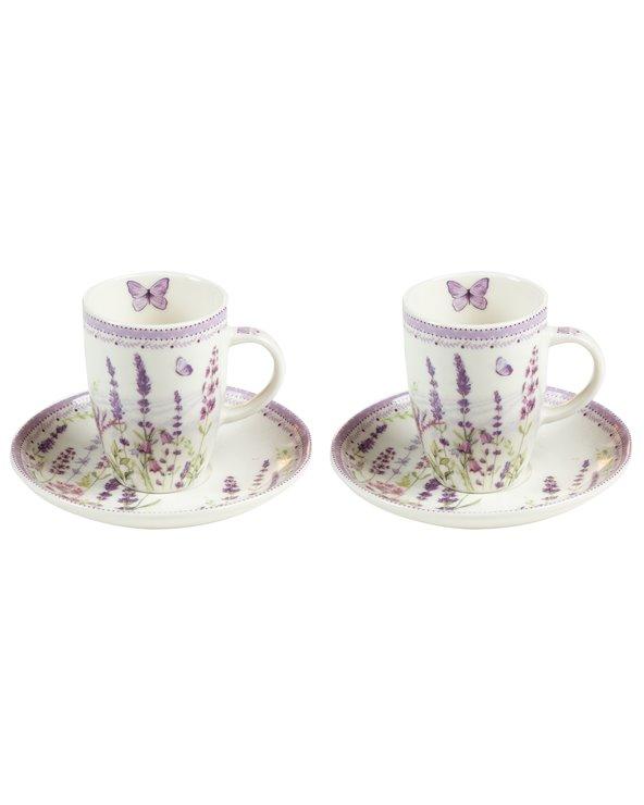 Set de 2 tasses avec assiette Lavande