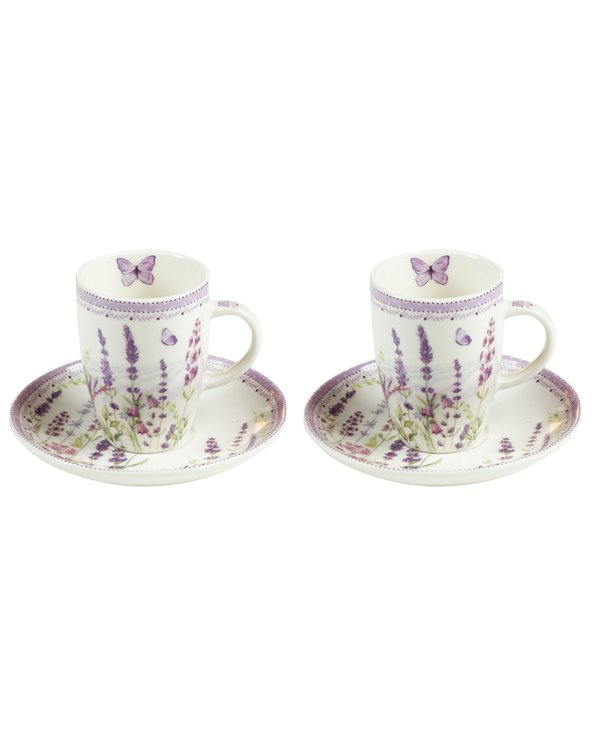 Set of 2 cups with Lavander plate