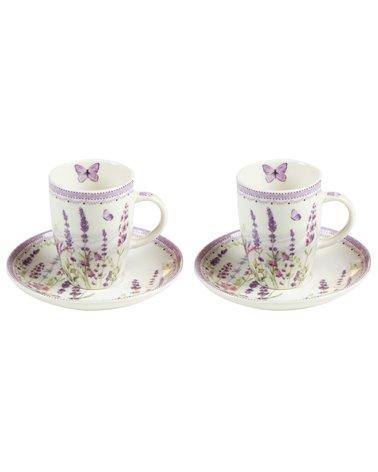 Set de 2 tazas con plato Lavander