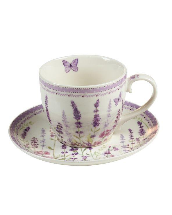 Lavendelbecher mit Untertasse