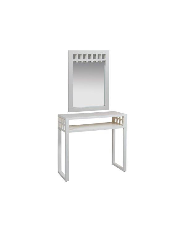Table console avec miroir blanc