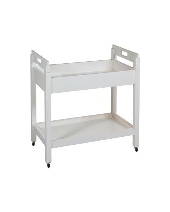 Chariot de cuisine blanc à roulettes