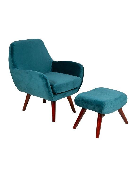Cadeira de brazos con repousapés Brown