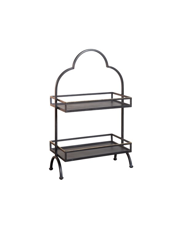 Storage unit with 2 metal shelves
