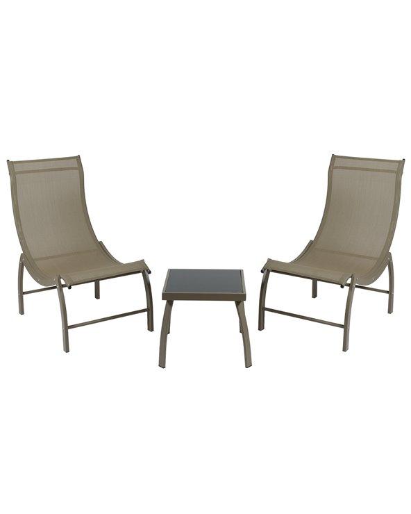 Gartengarnitur mit 2 braunen Liegestühlen und 1 Couchtisch