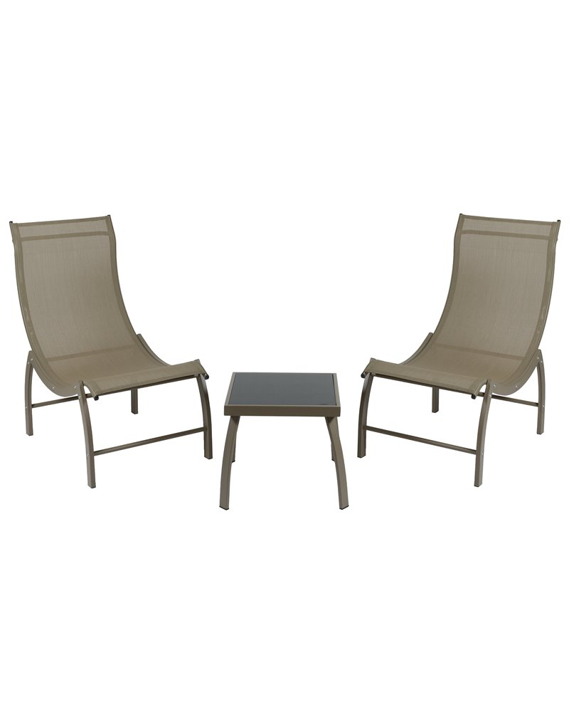 Garden set of 2 brown loungers and 1 coffee table