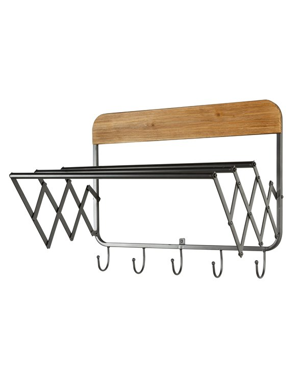 Industrial wall coat rack