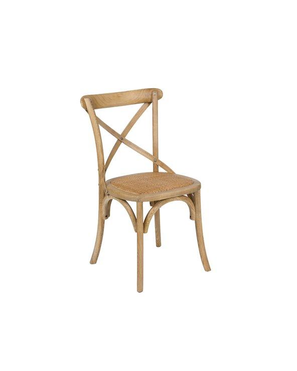 Cadeira madeira apoio en cruz
