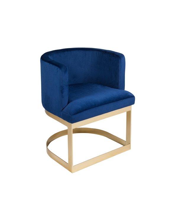 Cadeira de brazos media lúa azul