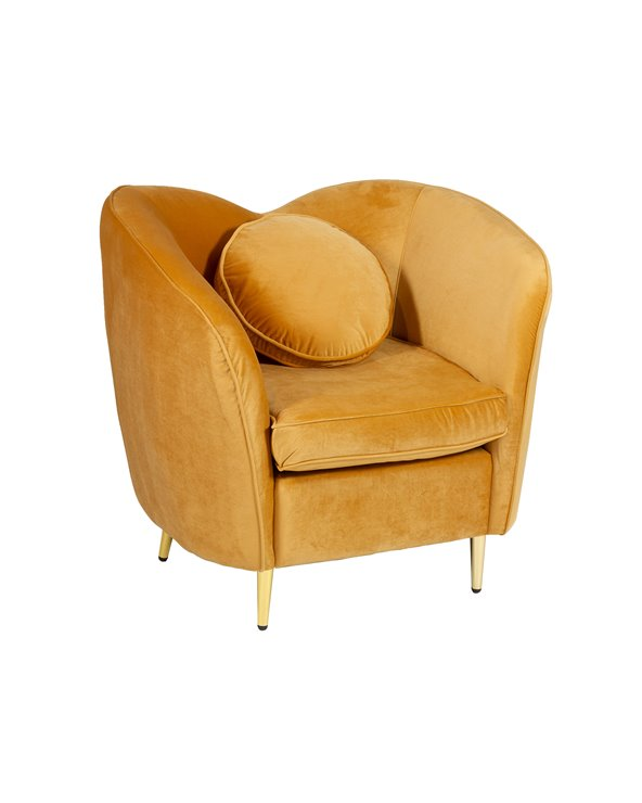 Cadeira de brazos oval ocre