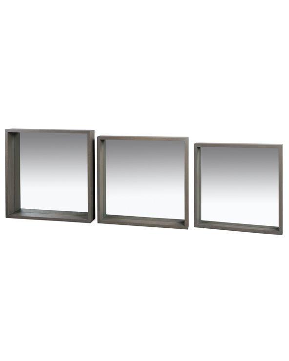 Conjunto de 3 espejos cuadrados Gris