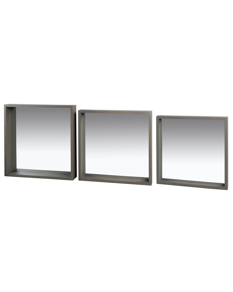 Conxunto de 3 espellos cadrados Gris