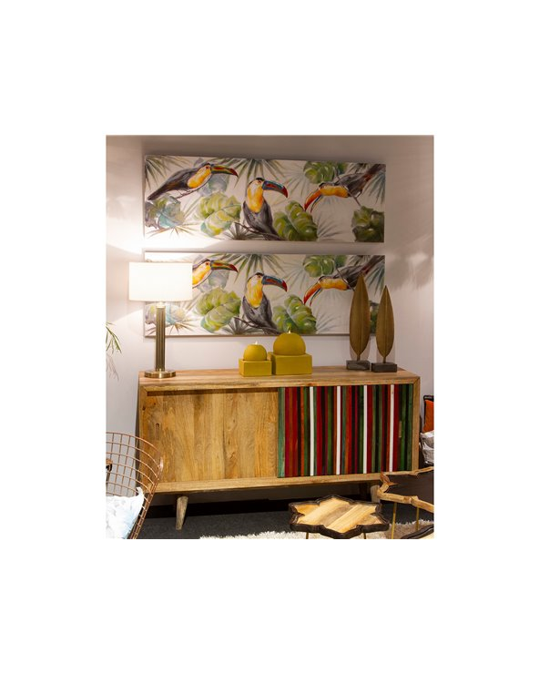 Panoramic parrots painting