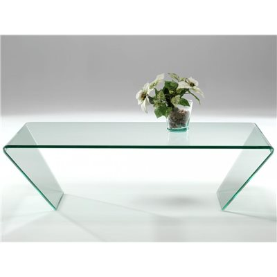 Mesa de centro cristal curvado Dainan 115 cm