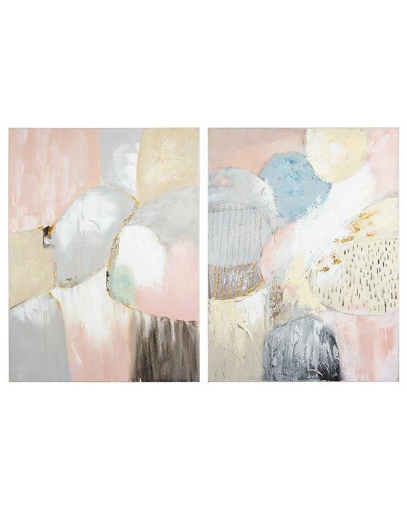 Set 2 cadros óleo rosa