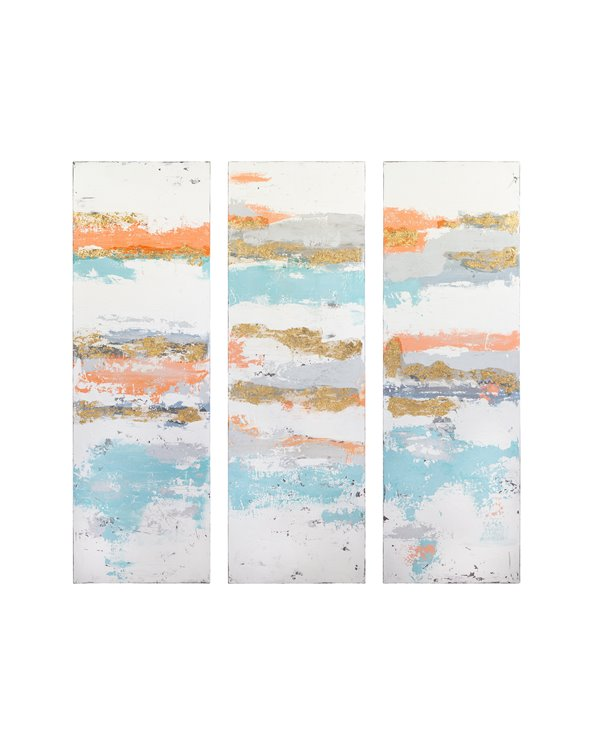 Set van 3 witte olieverfschilderijen