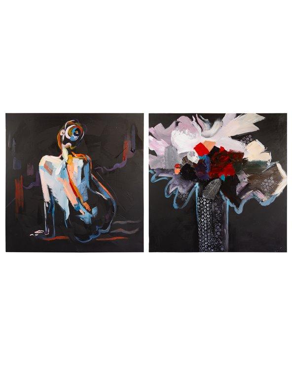 Ställ in två kvinnoljemålningar