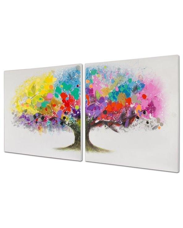 Set 2 schilderijen boomkleuren - Handbeschilderd