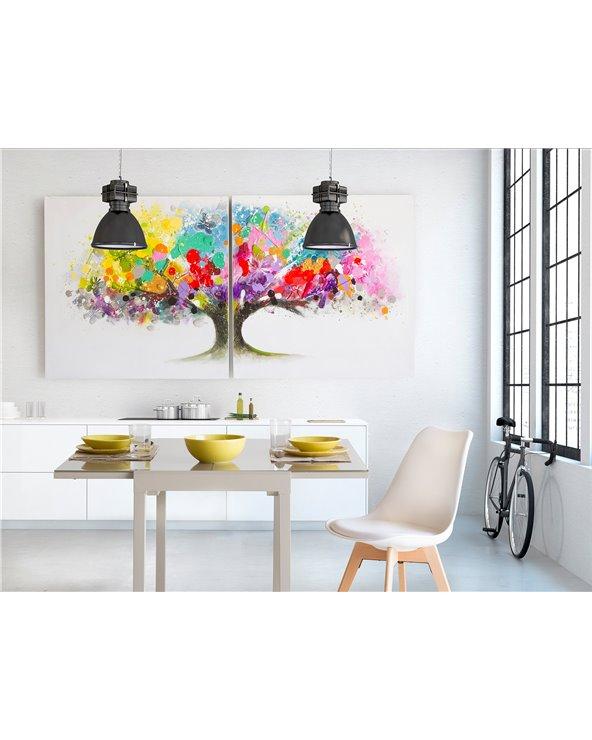 Set 2 cadros árbore colorees - Pintado a man