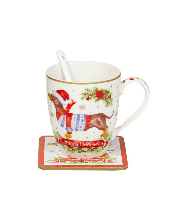 Set 4 Hundelöffel Tassen - Weihnachten