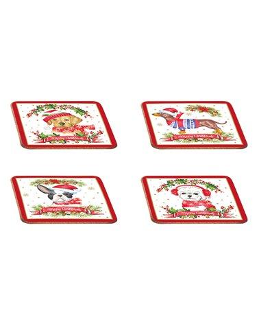 Set van 4 hondenlepelbekers - Kerstmis