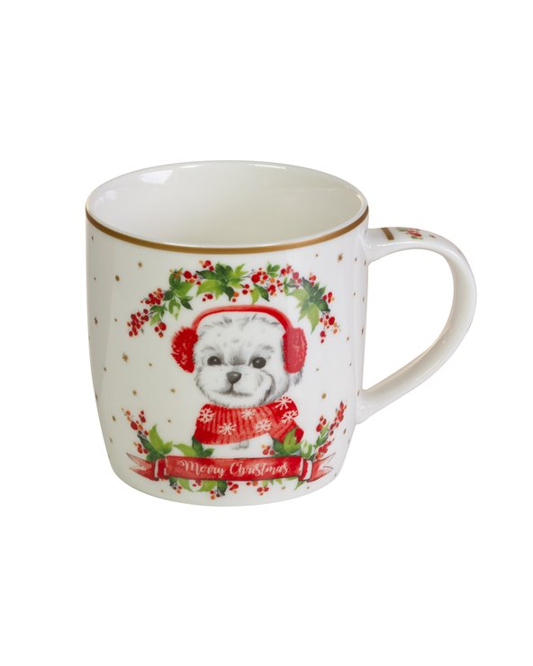 Mok met doos Honden - Kerstmis