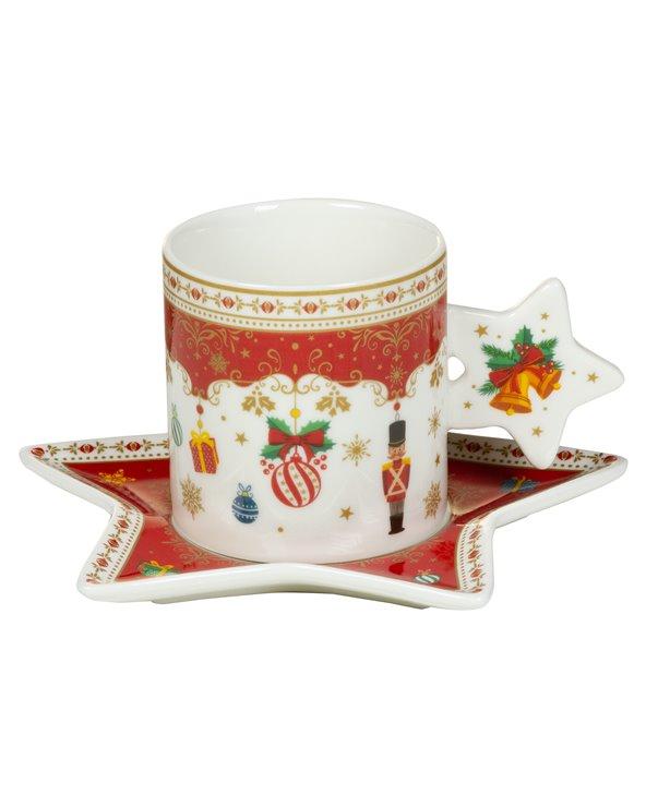 Chávena e pires de enfeites de natal
