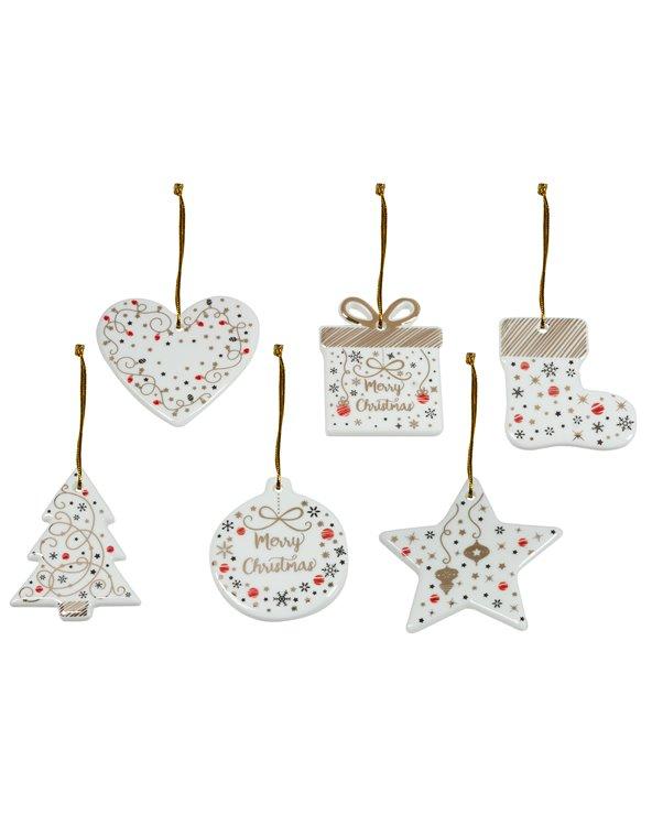 6 kerstversieringen - kerstboom