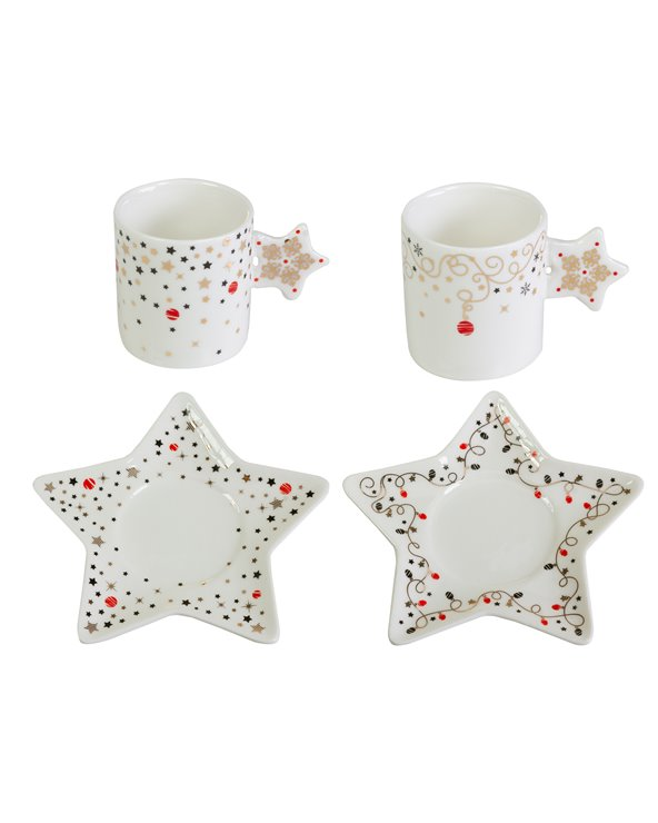Set 2 cups with plate Christmas - Xmas