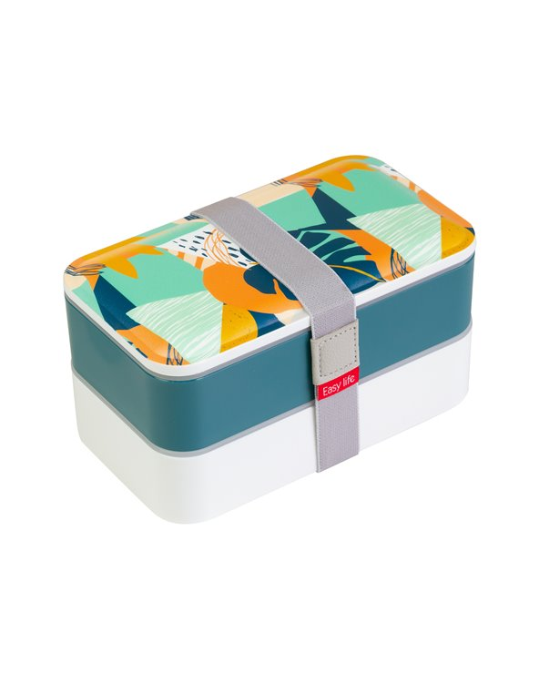 Blue Abstract 2-Tier Lunch Box