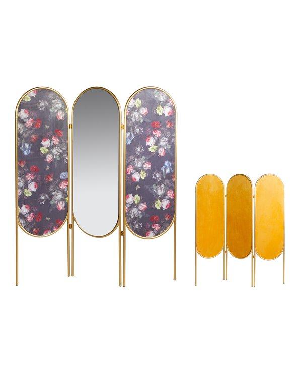 Séparateur de pièce ovale - Paravent avec miroir doré