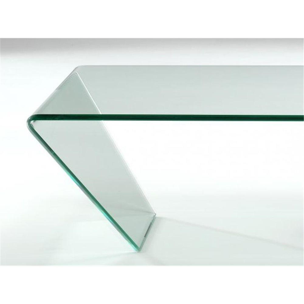Tavolino con vetro curvo Arinya 120 cm