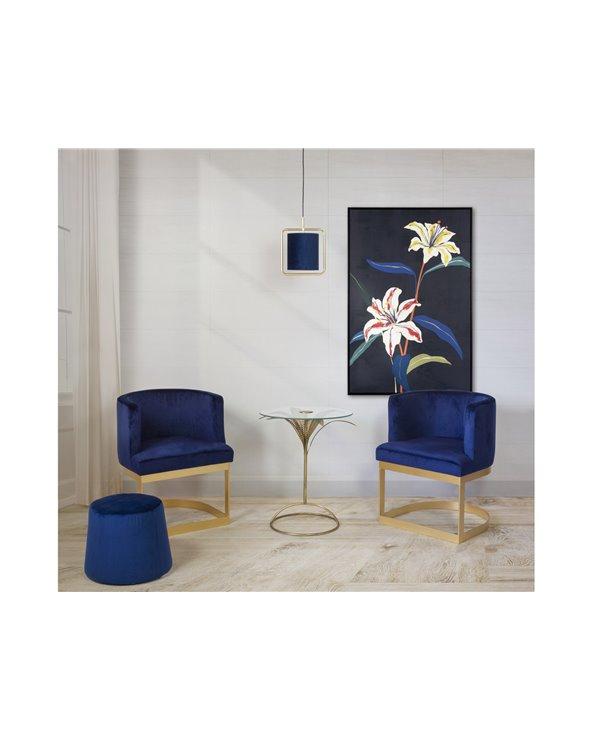 Conxunto de dúas cadeiras de brazos azuis con mesa