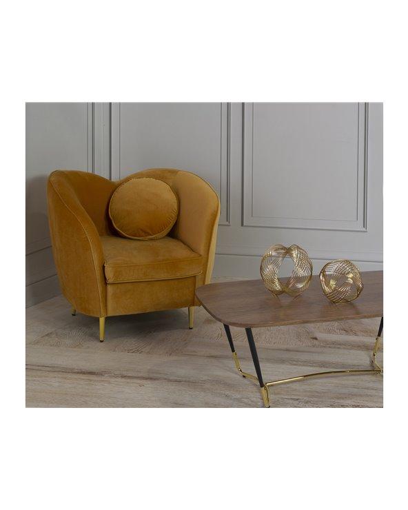 Conxunto de cadeira de brazos con mesa de centro
