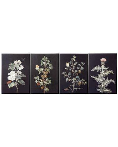 Set van 4 plantenschilderijen