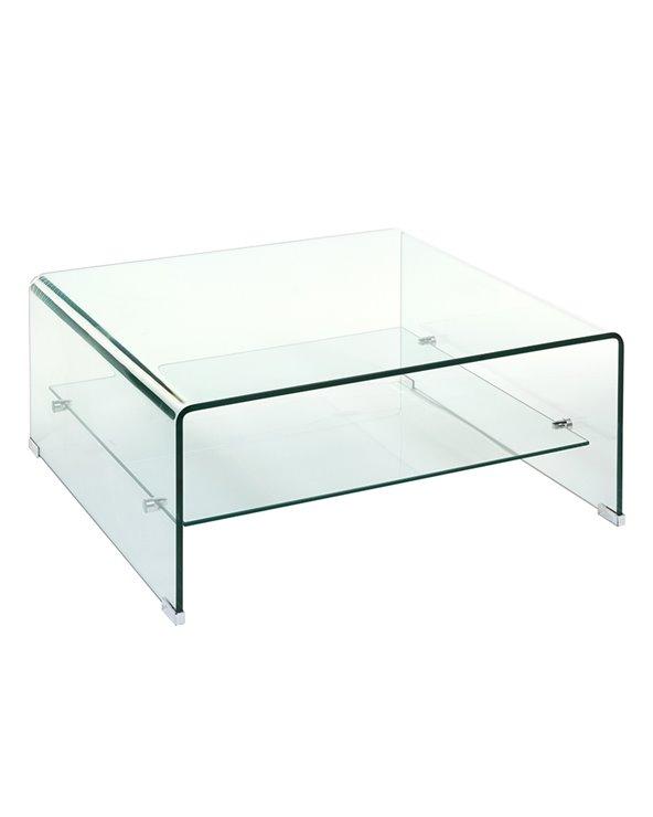 Mesa de centro de cristal cadrada